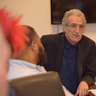 President Dimondstein Speaks with arbitration panel witnesses