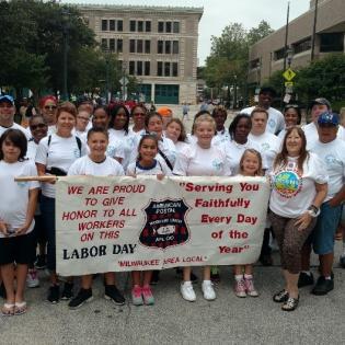 APWU members at rally in Milwaukee