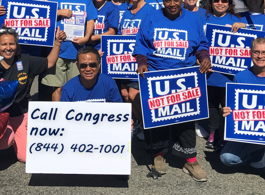 APWU members support the USPS Fairness act - call 1-844-402-1001