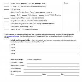 Organizing Materials Order Form
