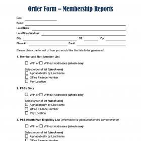 Membership Reports Order Form